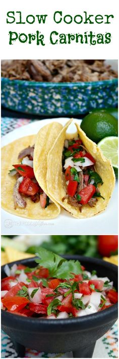 It's fiesta time! Whether you are cooking for a crowd or want a main dish that will stretch through several meals, break out your slow cooker for these delicious pork carnitas! The Foodie Affair #slowcooker #pork #tacos #carnitas