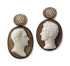 Cameos - diamonds - white gold - copper - Hemmerle Earrings, 2013