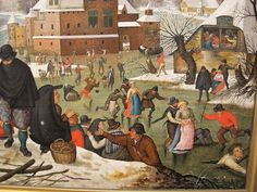"Pieter Bruegel the Younger, ""Winter"". I love the woman falling with her buttocks to the wind."