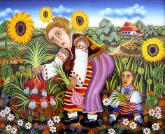 Peter Ghetu-The Onion Harvest 1979 Harvest, Original Paintings, Disney Princess, Disney Characters, Handmade, Sun Flowers, Onions, Desktop, Eye