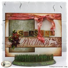 tammytutterow seasons greetings card, uses Festive Foliage, distress inks and stains, etc.