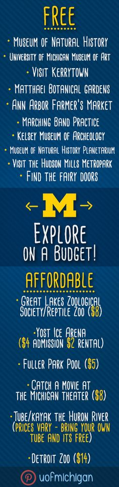 Learn to Explore Ann Arbor on a budget! Students (and everyone!) can save big with a student ID, or explore places on campus that are free/suggested donation Michigan Usa, University Of Michigan, Ann Arbor Apartments, Friend Advice, My Adventure Book, Free Museums, Travel Rewards, Go Blue, Student Life