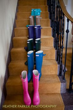 Jaqui's bridesmaid gifts: wellies in assorted colors