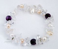 "HS Freshwater Cultured Pearl, Amethyst & Clear Crystal Stretch Bracelet 7.5"" AA"