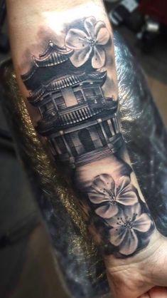 Oriental tattoo jhoe l Japanese Temple Tattoo, Japanese Flower Tattoo, Japanese Tattoo Designs, Japanese Sleeve Tattoos, Dope Tattoos, Leg Tattoos, Body Art Tattoos, Print Tattoos, Tattoos For Guys