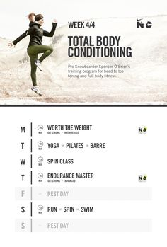 Pro snowboarder Spencer O'Brien shows you how to stay fit when temperatures drop. Pilates Barre, Workout Schedule, Workout Calendar, Workout Ideas, Nike Free Runners, Nike Outlet, Shoes Outlet, Nike Workout, Total Body