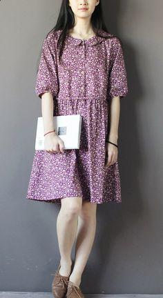 Floral summer cotton dressess half sleeve sundress fit flare dresses