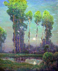 Moonrise Montigny, Charles Warren Eaton, vintage, artwork, 1900s, .