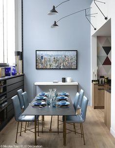 fr var plain_site storage images media images salle-a-manger-bleue salle-a-manger-bleue. Dining Room Decor, Decor, Blue Decor, Pastel Decor, Interior Inspiration, Elle Decor, Home, Living Spaces, Home Decor