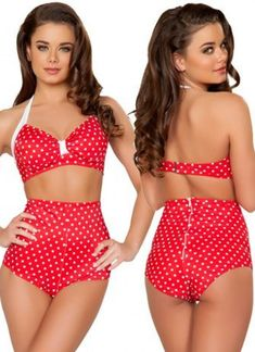 Vintage style D-Cup halter bikini top with wide halter straps that tie around neck for the perfect fit. Gathers at bust to create the ultimate sexy pin up look. Includes high-waisted shorts with zipper back. Item not lined but OK to swim. This item comes in X-Small, Small/Medium, Medium/Large and X-Large. Please select Small for Small/Medium and Large for Medium/Large here.