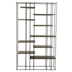 <p>A visually graphic étagère that combines a natural iron framework with sandblasted gray wood shelves. Plenty of space for your collectibles or books. Use in large loft-like spaces as a room divider or place next to a wall as a bookcase.</p> <p>See last image for the dimensions</p>