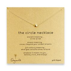 circle necklace, gold dipped.... This site is adorable! I love all of the necklaces and their meanings