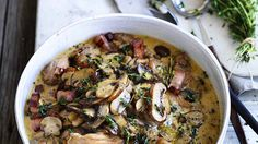 This Italian-style chicken and mushroom braise is great with polenta chips or a short pasta such as penne or macaroni.