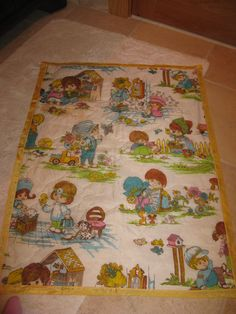Vintage 80s Handmade Similar to Holly Hobbie Blanket
