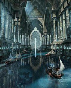 Ideas Concept Art Environment Cities Fantasy Landscape For 2019 Fantasy Kunst, Fantasy City, Fantasy Castle, Fantasy Places, Sci Fi Fantasy, Fantasy World, Fantasy Village, Dark Fantasy, Final Fantasy