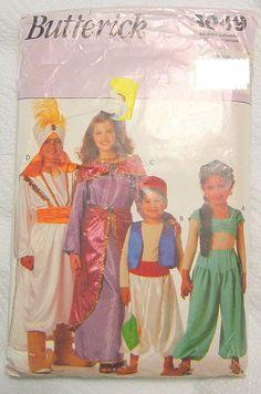 Halloween Arabian Nights Costume Sewing Pattern Children #Butterick