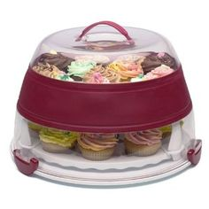 If you enjoy baking, this is collapsible cake and cupcake carrier is a must!