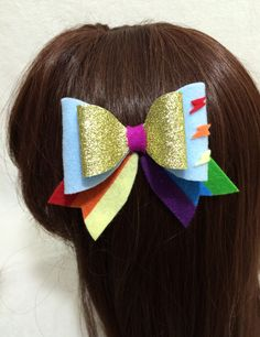 Rainbow Dash Felt Hair Bow Kawaii Cosplay Lolita My Little Pony (10.00 USD) by KawaNekoFashions