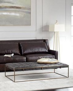 Gray Tufted Leather Coffee Table