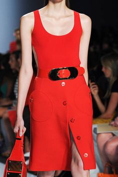 Michael Kors Spring 2013 red dress with metal buckle