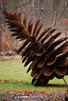 pinecone made from old shovels
