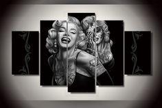 Framed Canvas Print Skull Face Marilyn Monroe Wall Art Painting