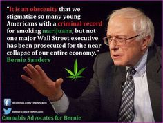 """It is an obscenity that we stigmatize so many young Americans with a criminal record for smoking marijuana, but not one major Wall Street executive has been prosecuted for the near collapse of our entire economy."" -- Quote by Bernie Sanders Bernie Sanders For President, Criminal Record, War On Drugs, Young Americans, Medical Marijuana, Cannabis, Thats The Way, Over Dose, Wall Street"