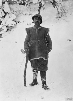 WWI, 1916. French soldier in winter clothing,Hartmannswillerkopf (Vieil Armand) hill, Vosges.