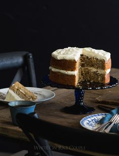 Olive Oil Zucchini Cake Recipe with Lemon Cream Cheese Buttercream Frosting from @whiteonrice