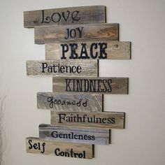 Love, Joy, Peace, Patience, Kindness, Goodness, Faithfulness, Gentleness, Self Control Sign from JNMRustic Designs on OpenSky