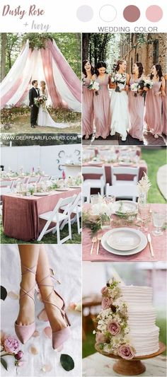 Top 6 Dusty Rose Wedding Color Palette Inspiration dusty rose white and greenery spring and summer wedding colors January Wedding Colors, Summer Wedding Colors, Spring Wedding, Summer Weddings, Beach Weddings, Romantic Weddings, Dusty Pink Weddings, Dusty Rose Wedding, Gold Wedding Theme