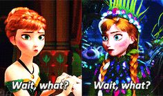 Anna's reaction when she can't get married, and when she is about to be.
