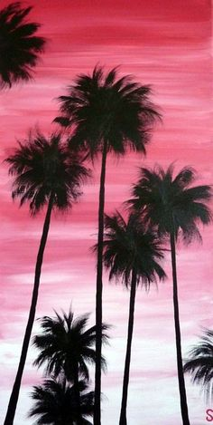 This post delivers beautiful examples of acrylic painting that are inspiring and not so difficult to try. Let me tell you my future artists – that choosing a subject matter for acrylic painting may prove difficult, especially for new acrylic painters. Cute Canvas Paintings, Easy Canvas Painting, Simple Acrylic Paintings, Acrylic Painting Canvas, Diy Painting, Canvas Art, Hippie Painting, Palm Tree Paintings, Sunset Painting Easy