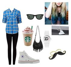 """""""starbucks con amigas"""" by florccitaa ❤ liked on Polyvore featuring Ted Baker, Forever New, Converse, Wet Seal and Ray-Ban"""