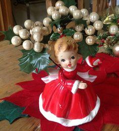 Vintage RELPO 1964 Christmas Holiday Girl Planter - Japan
