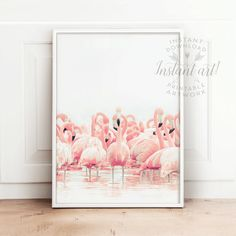 Tropical wall art PRINTABLE art flamingos print by TheCrownPrints