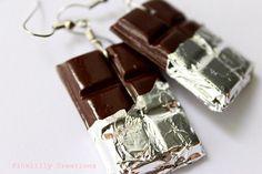 Dark Chocolate Bar Earrings, Polymer Clay Food Jewelry, Miniature Food Earrings