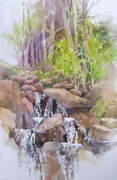 """""""Cascade at the Bog Garden"""" $375.00 framed Available for purchase. Please inquire: alexislavineartist@gmail.com"""