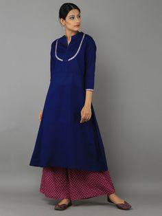 Blue Pink Cotton Kurta with Block Printed Palazzo - Set of 2