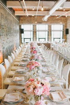 crazy long wedding table with peach/blush table center