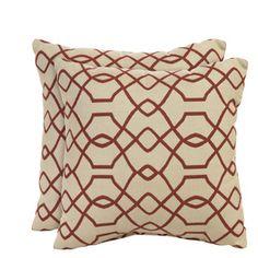 Set of 2 Sunbrella Folio Terracotta UV-Protected Square Outdoor Decorative Pillows