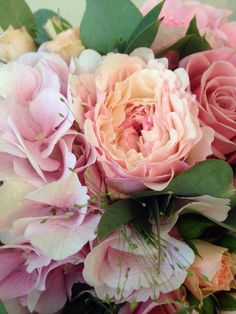 Hydrangea and rose bridal bouquet in dusky pinks