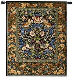 53x65 STRAWBERRY THIEF William Morris Birds Botanical Tapestry Wall Hanging