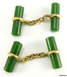12k Yellow Gold Jadeite Bar Cuff Links