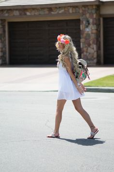 Coachella- Neon Pops and white dress