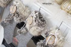 Julestrømper håndlaget strikket strømpe pels glitter tre KL5A5970