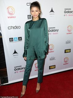 Festive: Zendaya looked gorgeous in an all-green ensemble as she arrivedat The Avalon in Hollywood on Sunday to host T-Boz Unplugged