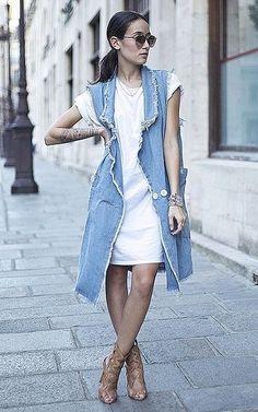 A T-Shirt Dress, Long Vest, and Heeled Sandals
