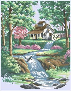 Summer landscape with a house by the river Cross Stitch House, Beaded Cross Stitch, Cross Stitch Kits, Cross Stitch Designs, Cross Stitch Embroidery, Cross Stitch Patterns, Dimensions Cross Stitch, Cross Stitch Landscape, Free To Use Images