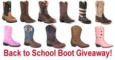 Win your choice of boots for back to school.  Ends August 31, 2015. You may enter once each day. (up to $250 in value) We Love Our Fans!
